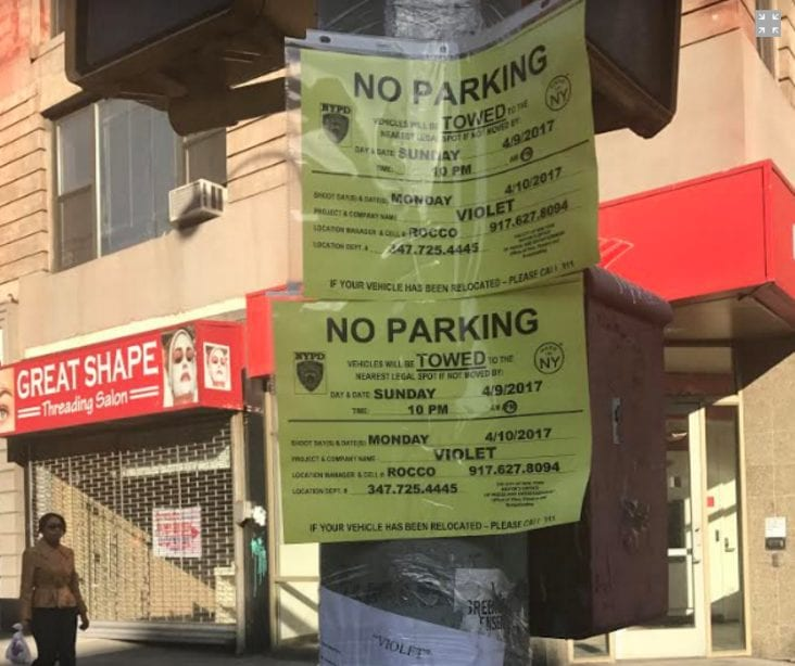 Filming notices have appeared around many of the shows NYC locations.