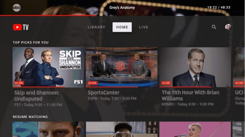 youtube tv menu