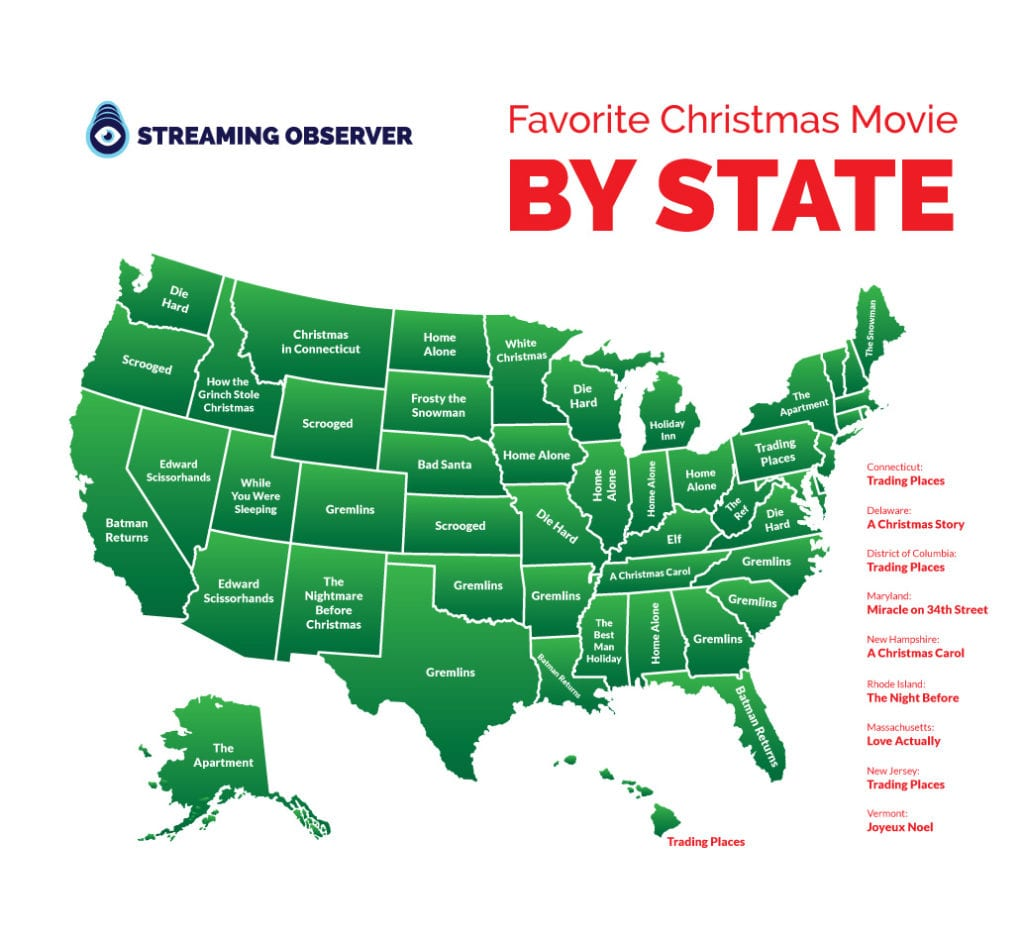 favorite christmas movie by state