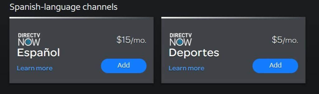 DIRECTV NOW spanish channels