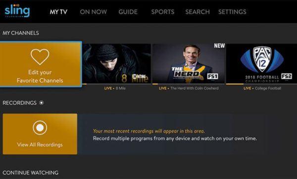 Sling TV user interface