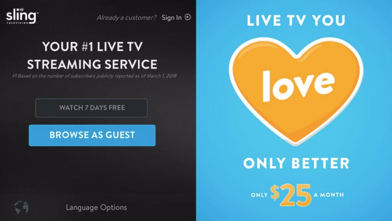 Sling TV free experience