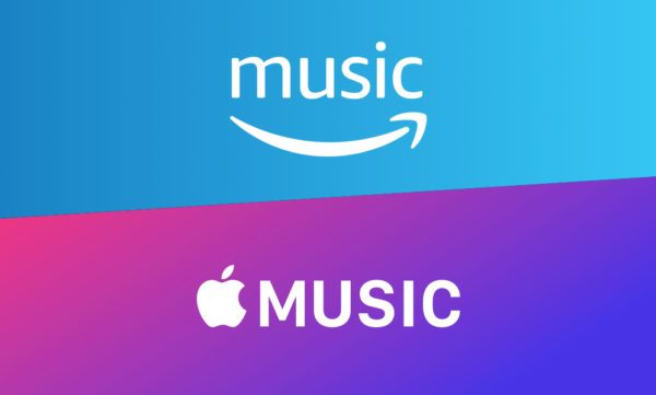 Amazon Music and Apple Music's logos