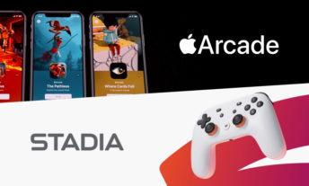 Apple Arcade and Google Stadia's logos