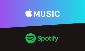 Apple Music and Spotify's logos