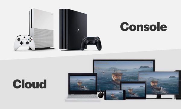 gaming consoles and screens showing cloud gaming