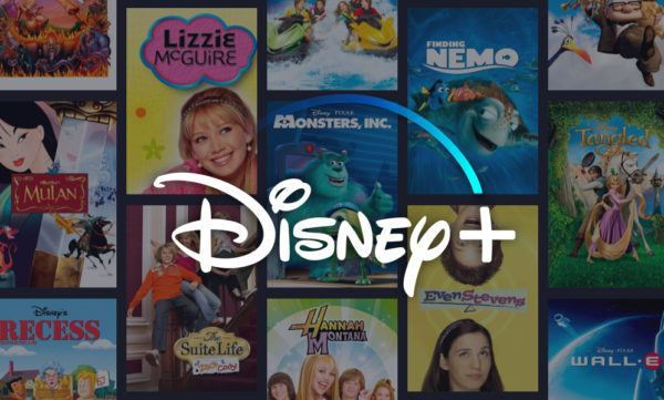 disney plus logo with movie posters in the background