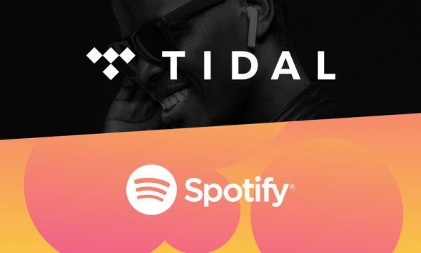 tidal and spotify logos